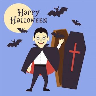 吸血鬼として服を着た男の子が墓に手を伸ばす。コウモリは飛ぶ。ベクトル図。