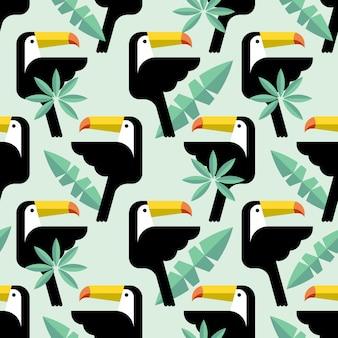 Бесшовный тропический узор с птицами.