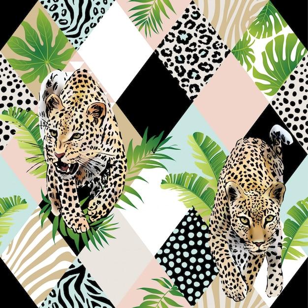 Тропические пальмовые листья и экзотический фон леопарда