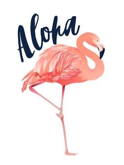 アロハフラミンゴのイラストスタイルの分離