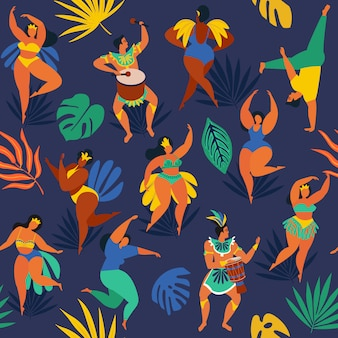 リオデジャネイロのカーニバルのブラジルのサンバのダンサー。