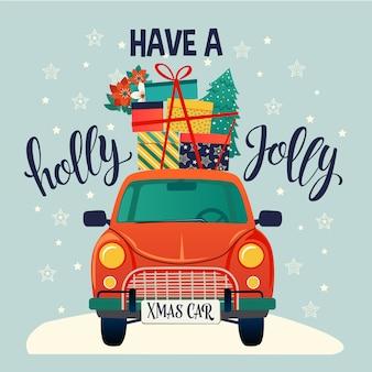 Рождественская открытка. красный ретро автомобиль с елкой и подарками. векторные иллюстрации.