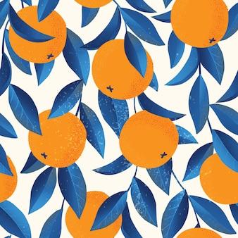 オレンジ色のトロピカルシームレスパターン。果物は、背景を繰り返した。