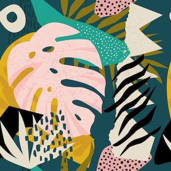 Коллаж современный цветочный гавайский узор вектор.