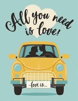 バレンタインの日ロマンチックな挨拶ベクトルカードをレタリングします。あなたが必要なものは愛です。