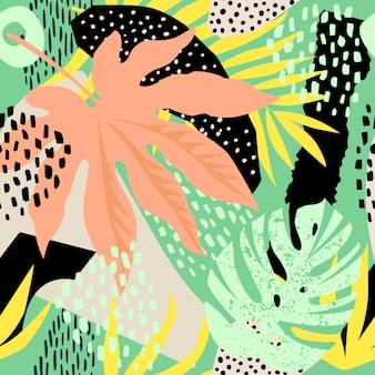熱帯の葉と抽象的なシームレスパターン。手が風合いを描きます。ベクトルテンプレート