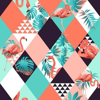 エキゾチックなビーチのトレンディなシームレスパターン、パッチワークの花のイラスト