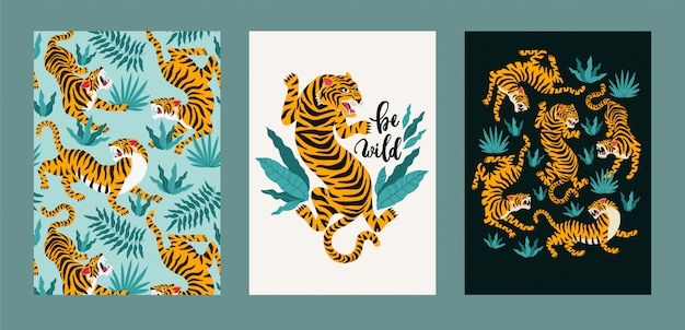 Векторный плакат набор тигров и тропических листьев.