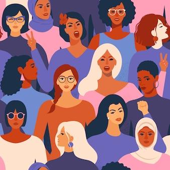 さまざまな女性のシームレスパターンの女性の多様な顔。