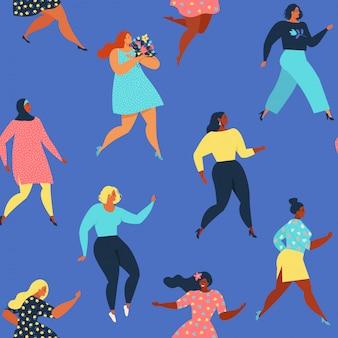 踊る女性女性のシームレスパターン。