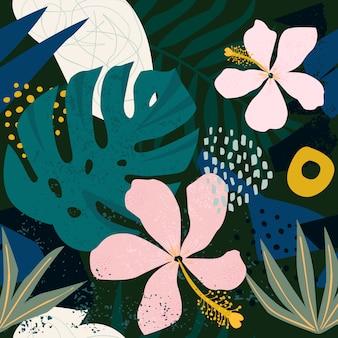 現代的なハイビスカスの花のハワイアンパターンをコラージュします。