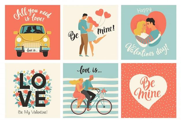 バレンタインの日カードと他のチラシテンプレート