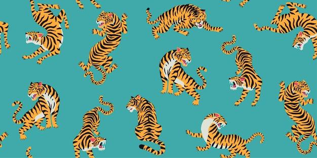 Бесшовный образец с милыми тиграми на фоне.