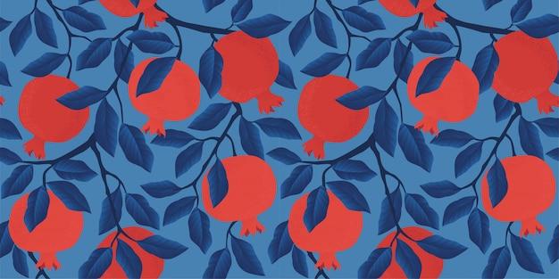 ザクロの果実とシームレスなパターンをベクトル。