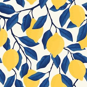 黄色いレモンと熱帯のシームレスパターン。