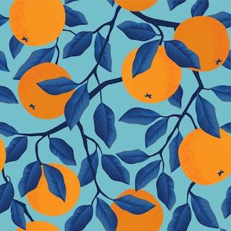 オレンジと熱帯のシームレスパターン。フルーツが繰り返されます。