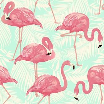 フラミンゴ鳥とトロピカルヤシの背景 - シームレスなパターンベクトル