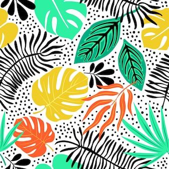 熱帯植物とシームレスなエキゾチックなパターン