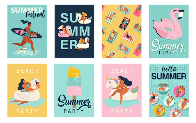Летняя вечеринка. привет летние постеры. симпатичные ретро постеры установлены.