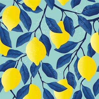 明るい黄色のレモンと熱帯のシームレスなパターン。