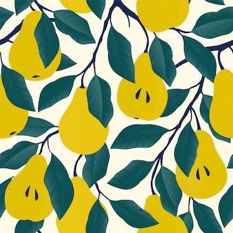 黄色の洋ナシとのシームレスなパターン。