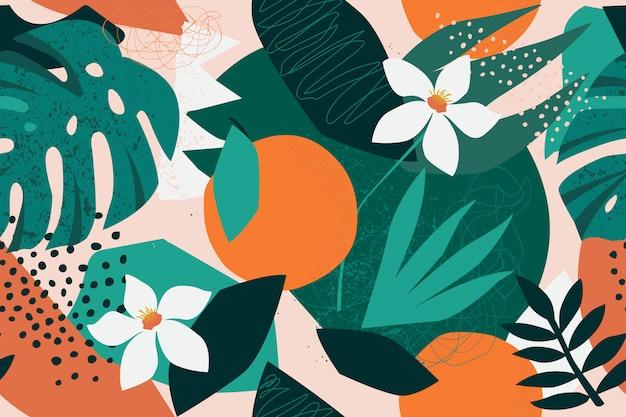 現代花柄シームレスパターンをコラージュします。