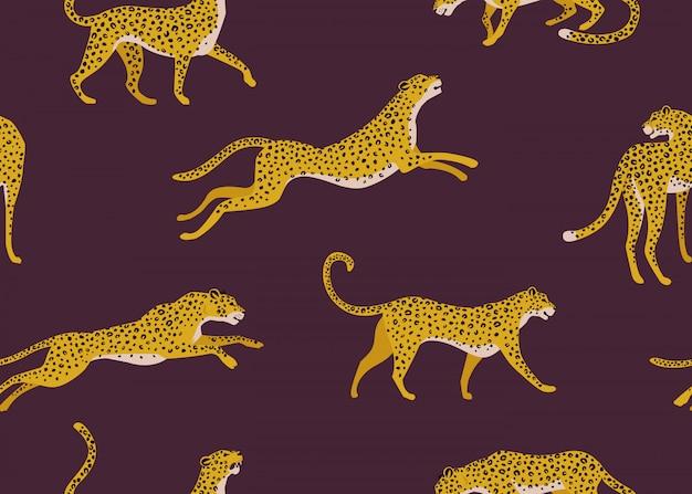 Узор леопарда с тропическими листьями. вектор бесшовных текстур.