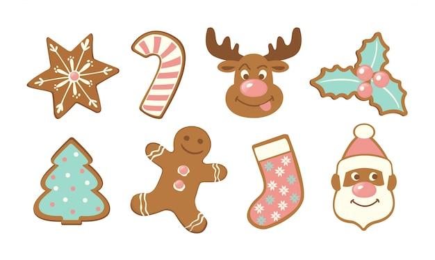 クリスマスのかわいいジンジャーブレッドクッキーのセット。