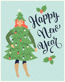Новогодняя открытка с девушкой, одетой как ель и празднующей новый год.