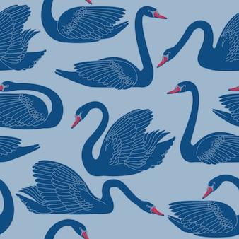 Бесшовные ручной росписью шаблон черные лебеди.