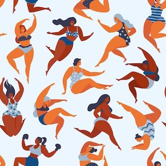 夏の水着の女の子とトレンディなパターン。