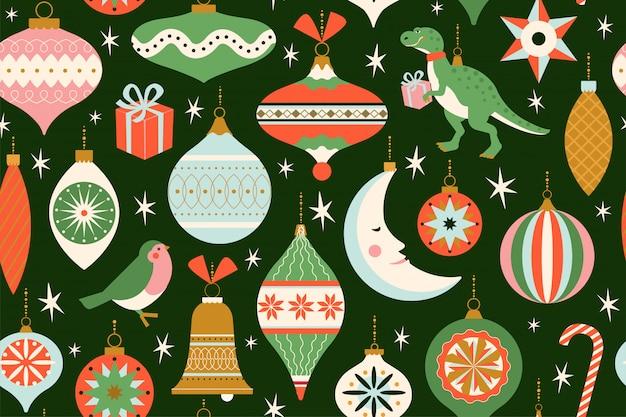 С рождеством и новым годом открытка с различными рождественскими игрушками и подарком в стиле ретро середины века. зимние каникулы бесшовные модели.