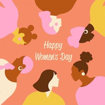 国際婦人デー。カード、ポスター、チラシ、その他のユーザー用のかわいい女性のテンプレート。