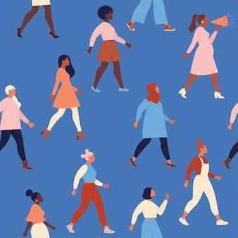 さまざまな民族のシームレスなパターンの女性の多様な顔。女性のエンパワーメント運動パターン。国際婦人デー 。