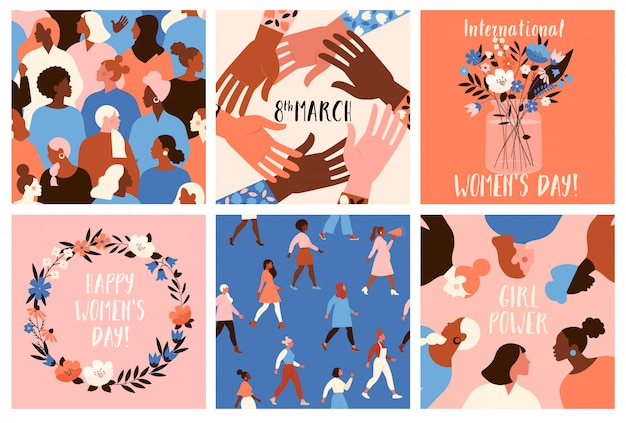 Коллекция шаблонов поздравительных открыток с цветами, активистами феминизма и счастливого женского дня.