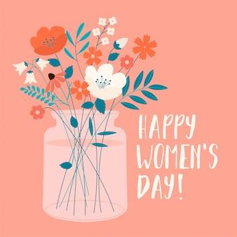 春の花束を持つ国際女性の日。カード、ポスター、チラシ、その他のユーザーのベクトルテンプレート。