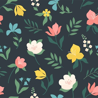 シームレスな明るいスカンジナビア花柄。ファブリック、テキスタイルに最適です。