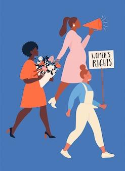 フェミニズムの概念。さまざまな国籍の女性のグループが自分たちの権利に抗議し、主張しています。女性のエンパワーメント。
