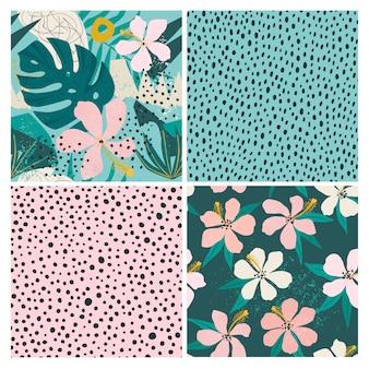 現代的な花と水玉の形のシームレスなパターンセットをコラージュします。