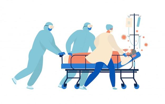 集中治療を受けている高齢患者の蘇生のためにストレッチャーに向かって走る医療従事者。