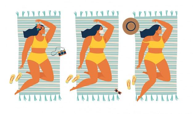 珍しい日焼け。検疫夏時間中に防護マスクで日光浴の女の子