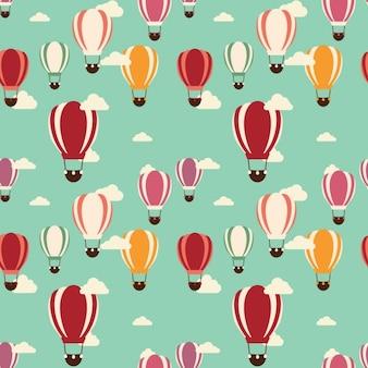 色とりどりの熱気球パターン