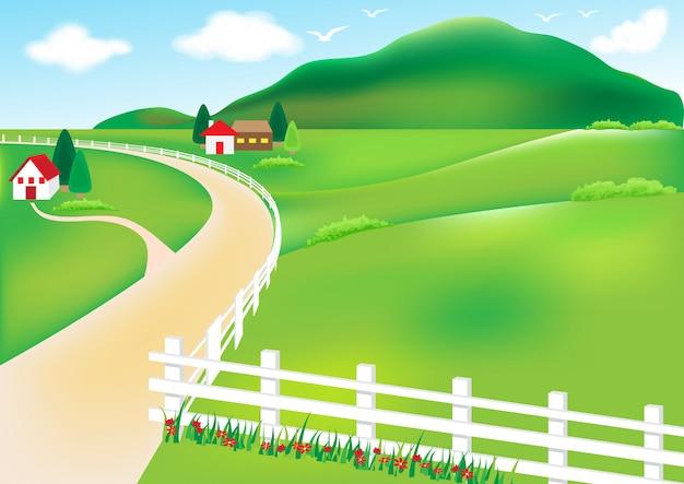 農村と家の白いフェンスの図