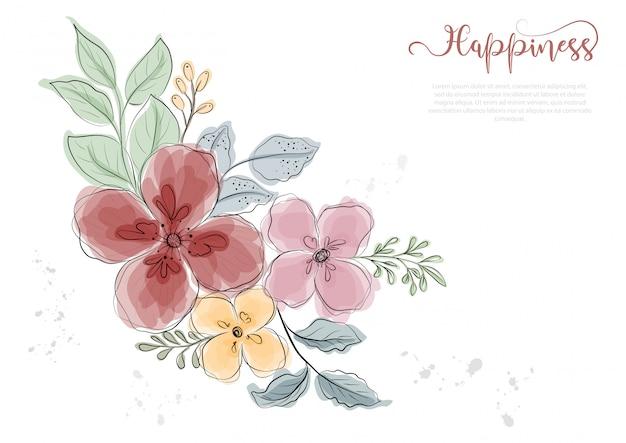 Рисованной красочные цветы цветут с черной линией