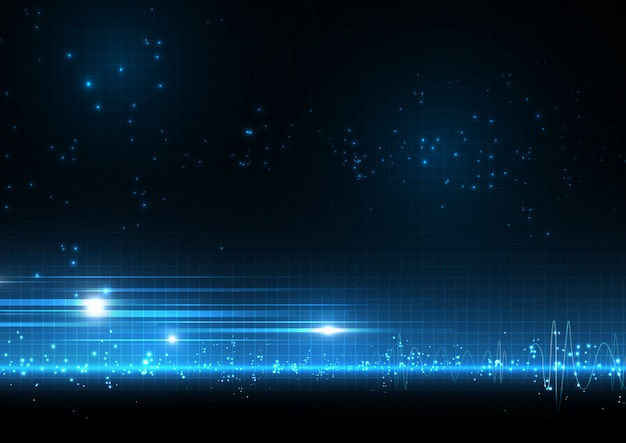 音波と青い光ドット背景