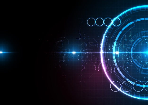 Темно-синий свет круг цифровые технологии