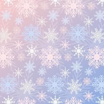 スノーフレークシームレスパターングラデーションローズクオーツとセレニティ色ビンテージ背景