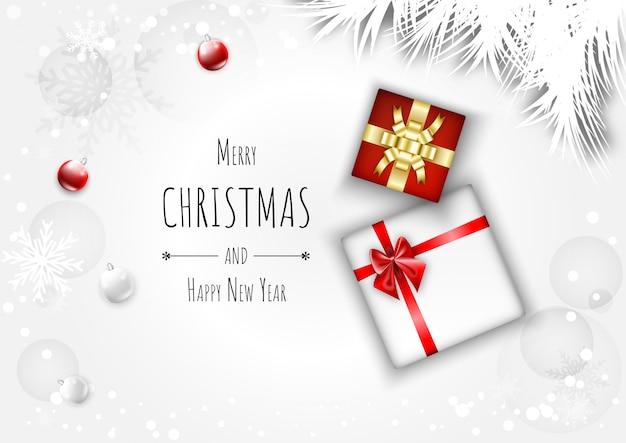 メリークリスマスの背景にギフトボックス、ボール