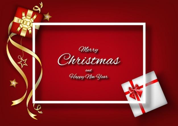 フレーム装飾と赤いクリスマス背景