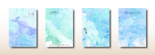 青と緑の水彩手描きコレクション